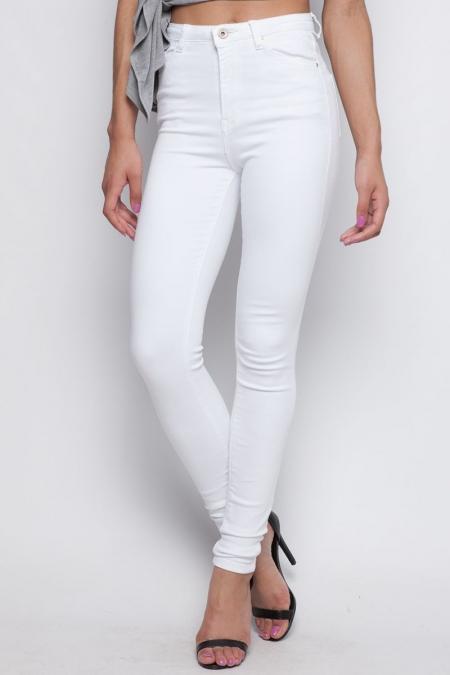WHITE HI WAISTED PANTS