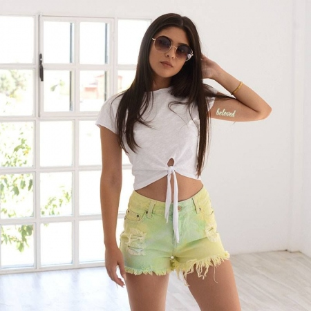 LIME JEAN SHORTS