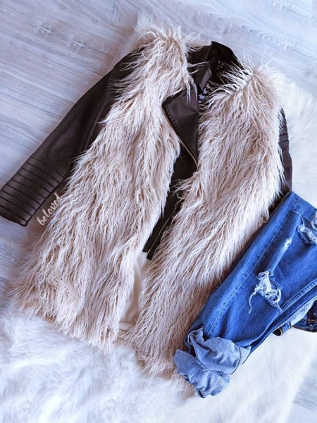 CREAM CURLY FUR GILET