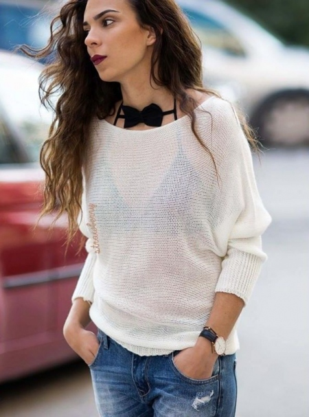 KATE WHITE KNITTED BLOUSE