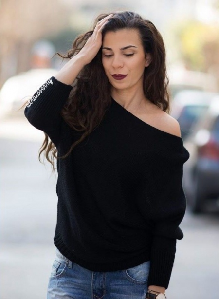 KATE BLACK KNITTED BLOUSE