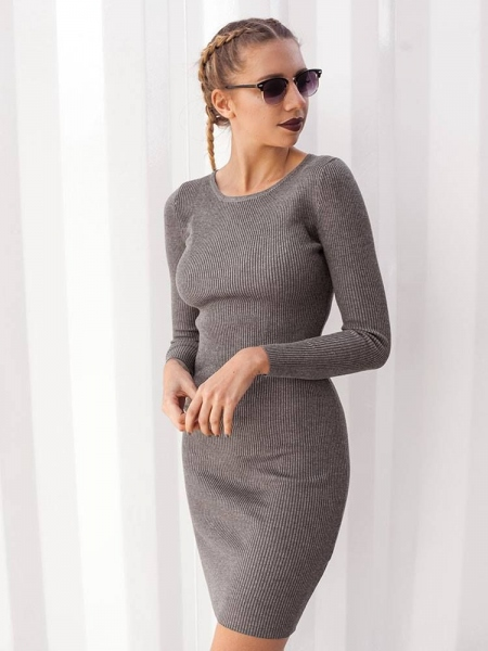 LUISA GREY KNITTED DRESS