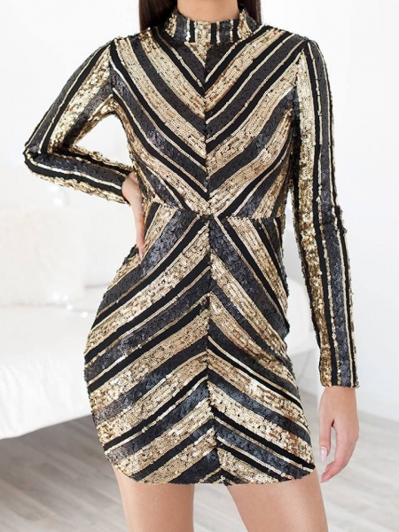 ALISHA BLACK AND GOLD SEQUIN DRESS
