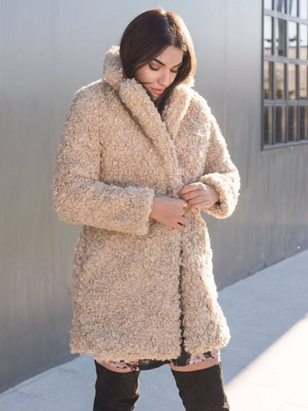 GILLIAN BEIGE FURRY COAT