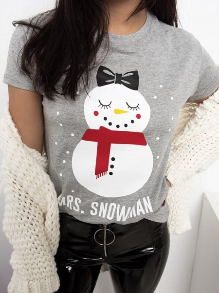 MRS. SNOWMAN GREY T-SHIRT
