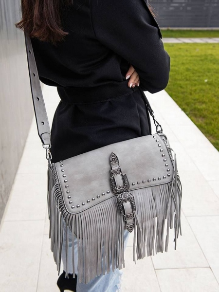 GREY FRINGE BUCKLE BAG