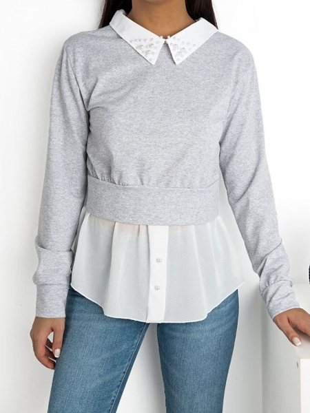 AVERY GREY AND WHITE BLOUSE