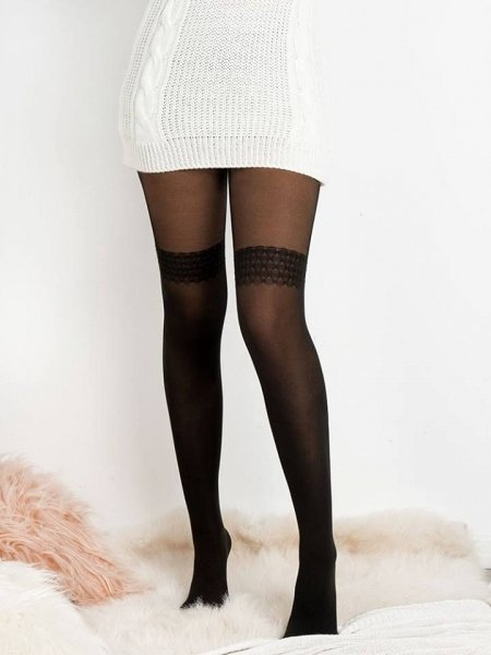 ZOE BLACK GARTER TIGHTS