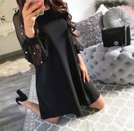DAPHNE BLACK PEARLS DRESS