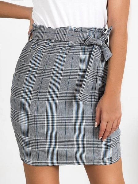 MATINA BLUE CHECKED SKIRT