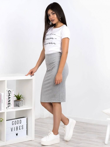 PENCIL ELASTIC LIGHT GREY MIDI SKIRT