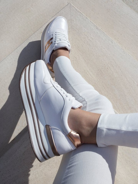 PIA WHITE CHAMPAGNE FLATFORM SNEAKERS