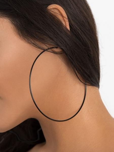 BLACK HOOP EARRINGS