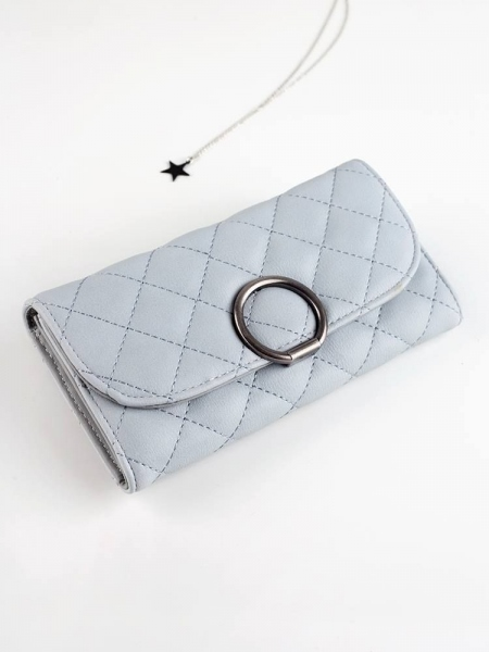 QUILTED GREY WALLET