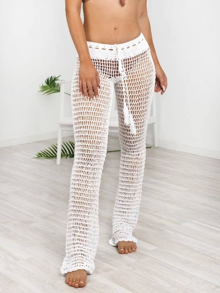 ILONA WHITE KNITTED PANTS