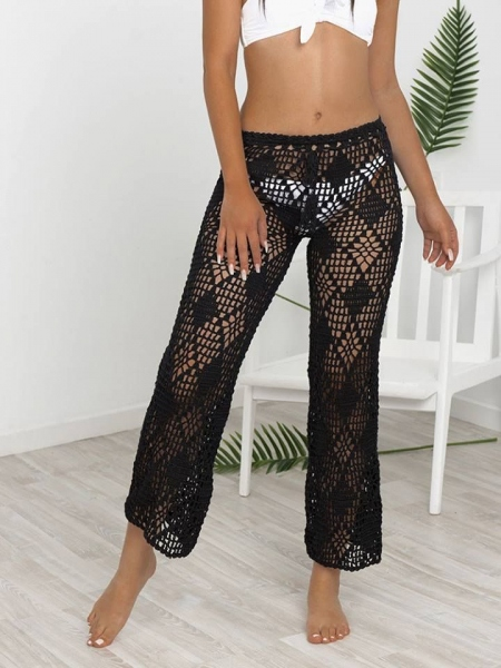 ELYSIA BLACK KNITTED CROP PANTS