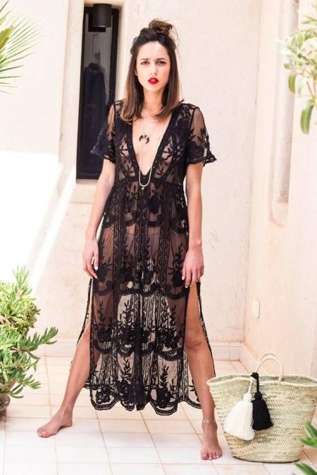 PENELOPE BLACK MAXI LACE DRESS