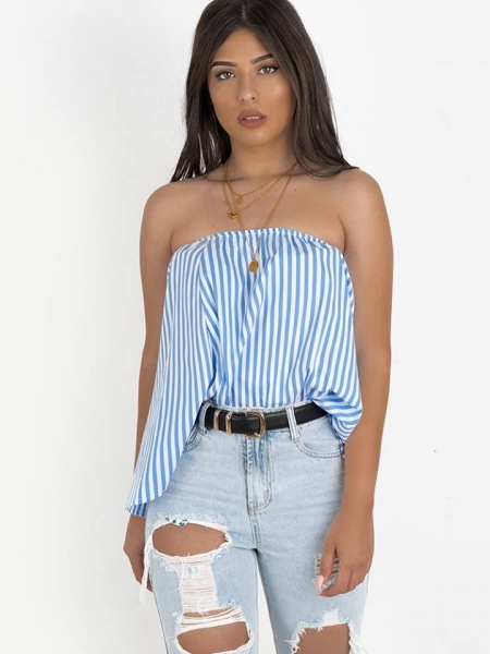 NALA BLUE STRIPED BLOUSE