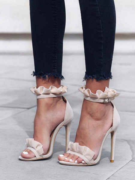 nude frill sandals σανδάλι