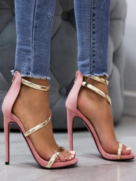 pink gold sandals heels πεδιλα χρυσα