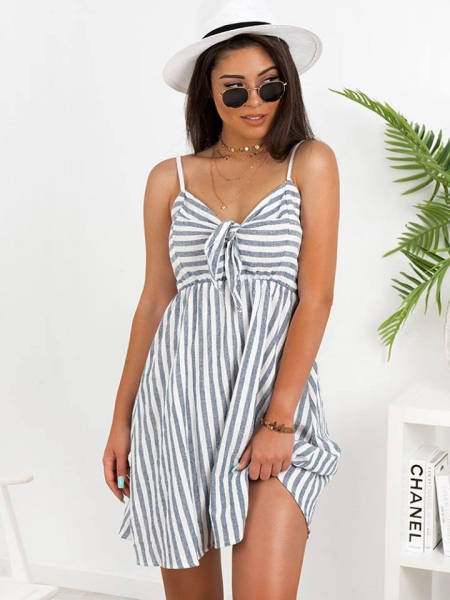 NAVY BLUE WHITE STRIPPED DRESS 1