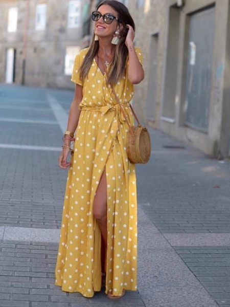 MARTINO YELLOW DOT MAXI DRESS 01