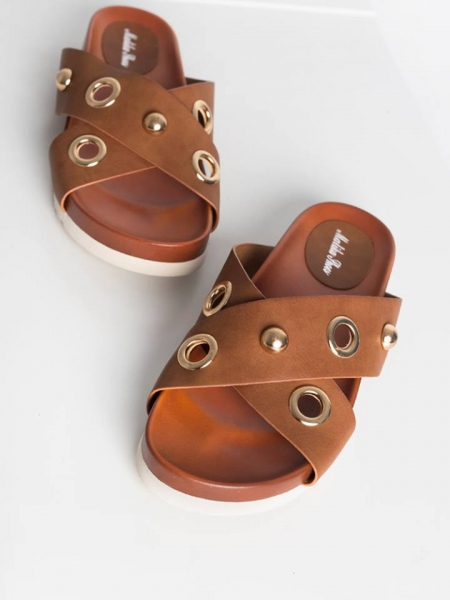 FRIDA BROWN SLIPPERS