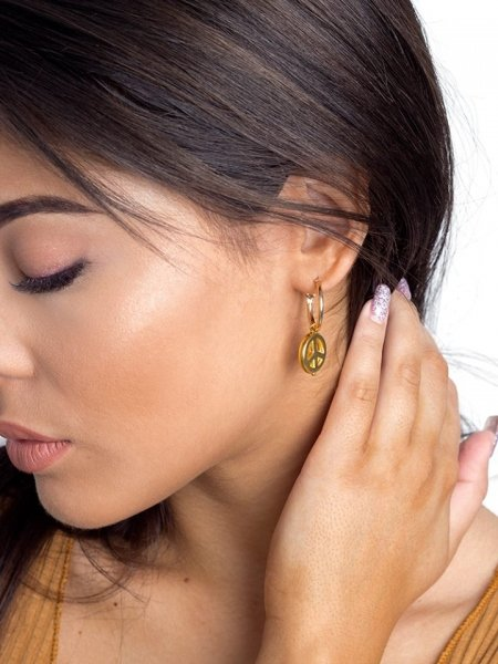PEACE GOLD HOOP EARRINGS