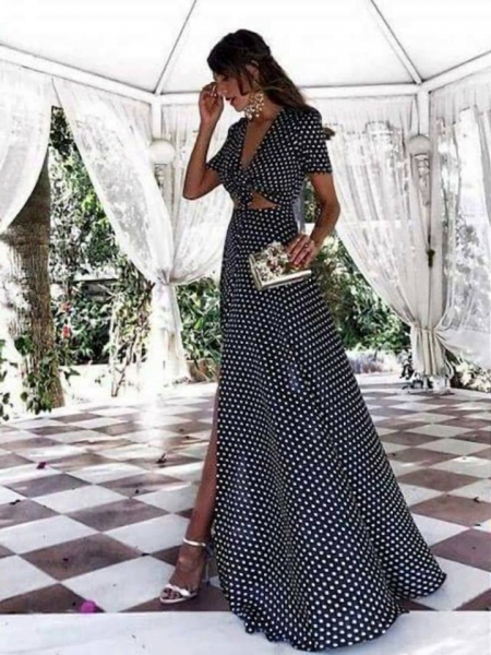 ROXANNA BLACK AND WHITE DOT MAXI DRESS
