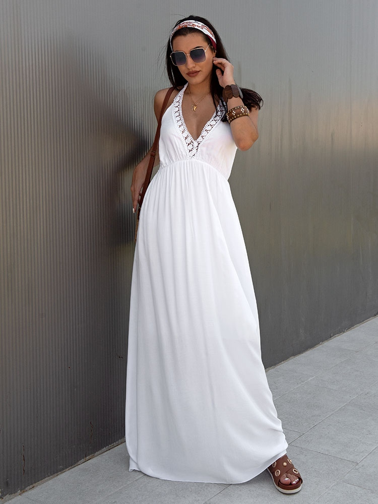 c6b84e687ac CATRINE WHITE MAXI SUMMER DRESS