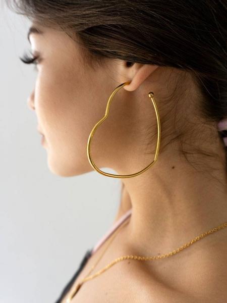 HEART GOLD HOOP EARRINGS