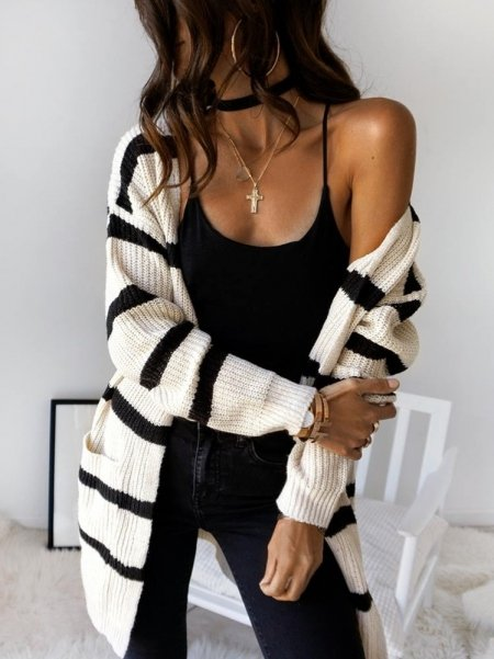 BLACK & CREAM LONG JACKET