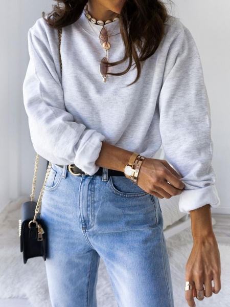 ASH GREY CROP SWEATSHIRT