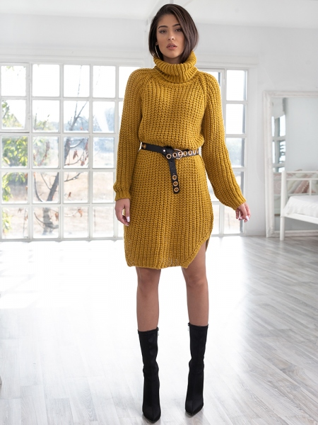 CECILIA MUSTARD KNITTED DRESS