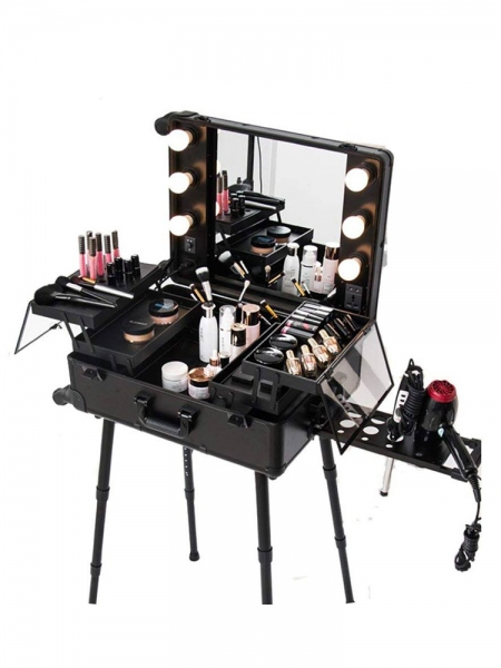 Makeup Trolley Box - Cosmetic Train Case 6 Bulbs Lights Beauty Travel Case Black