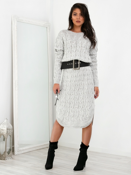 8081fa7301b5 MARIZA ICE GREY KNITTED DRESS
