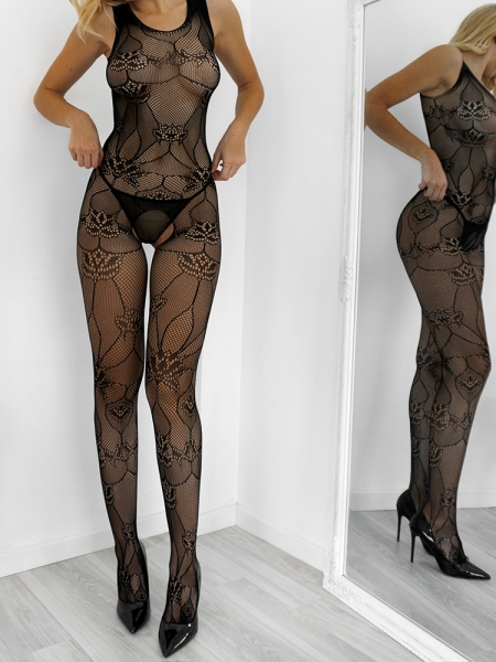AMBER BLACK FLORAL BODYSTOCKING