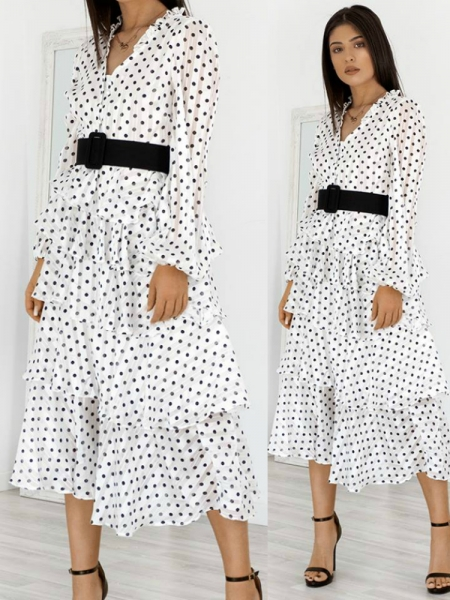 AMADORA WHITE DOT DRESS