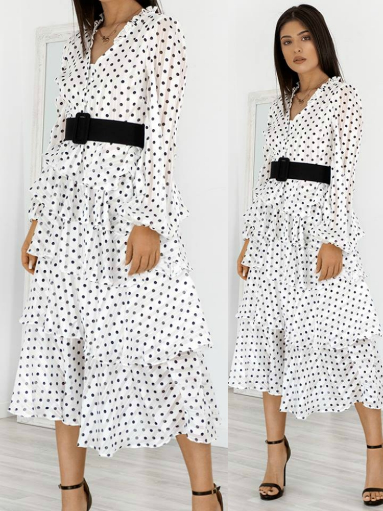 88acc6dce627 Fashionroom AMADORA WHITE DOT DRESS