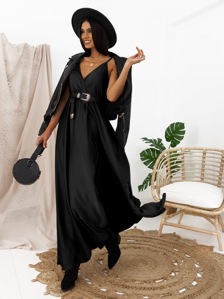 CAMELIA BLACK MAXI SATIN DRESS