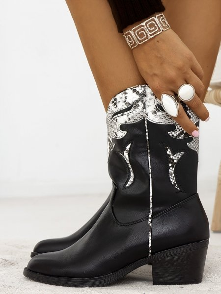 CAVALERO BLACK & WHITE SNAKE BOOTIES