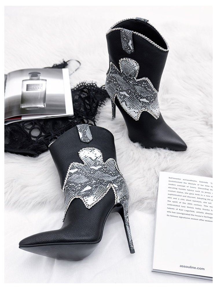 WESTWORLD BLACK & WHITE SNAKE BOOTIES