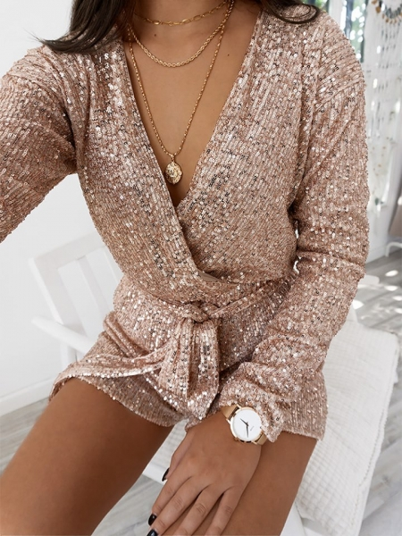 SARTAJ ROSE GOLD SEQUIN PLAYSUIT