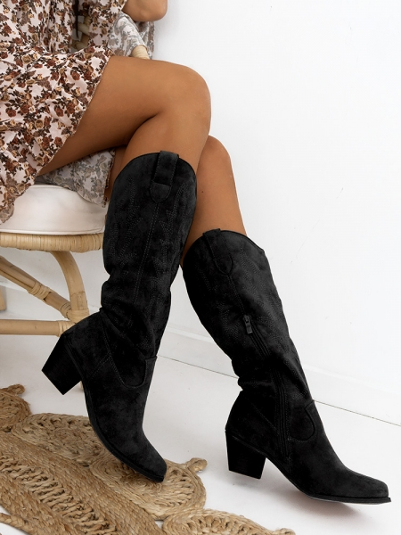 VIRGIN BLACK COWBOY BOOTS