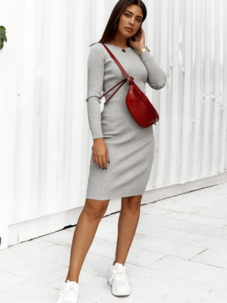 LUISA GREY PENCIL RIPPED DRESS