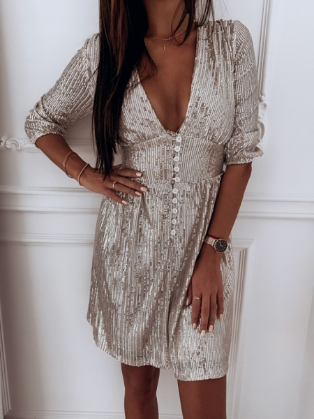 VEGAS PLATINO SEQUIN DRESS