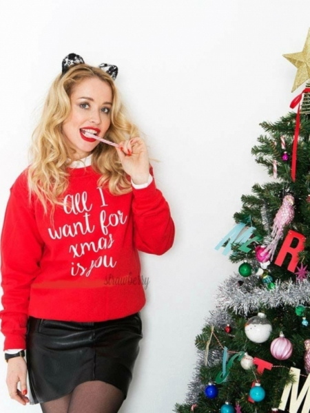 ALL I WANT RED SWEATER