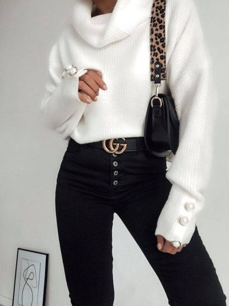 MERINA WHITE KNITTED BLOUSE