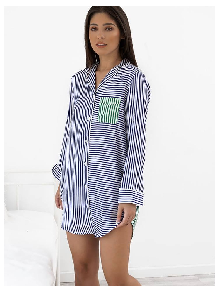 MEDLEY STRIPPED GREEN & BLUE NIGHTSHIRT