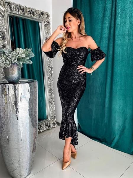 VENERDI BLACK SEQUIN MAXI DRESS